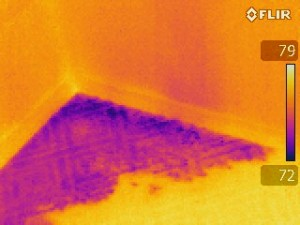 Leaking shower pan discovered with the use of thermal imaging.